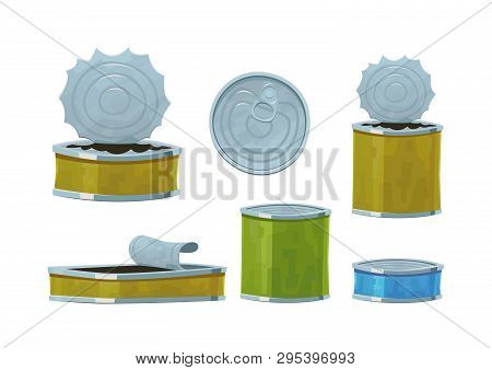 Various Tin Cans Isolated On White Background Vector