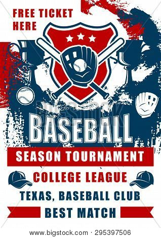 Baseball Sport Game Championship Match Of College League Season Tournament Vector Design. Softball B