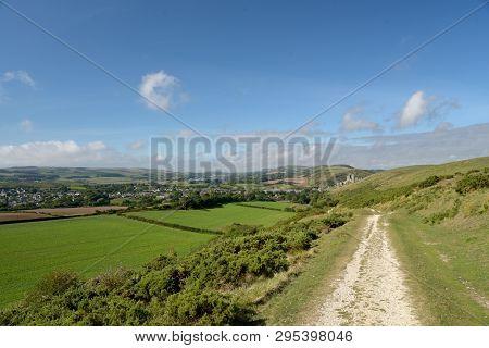 The Path Over The Ridge Of Ballard Down Above Corfe In Dorset