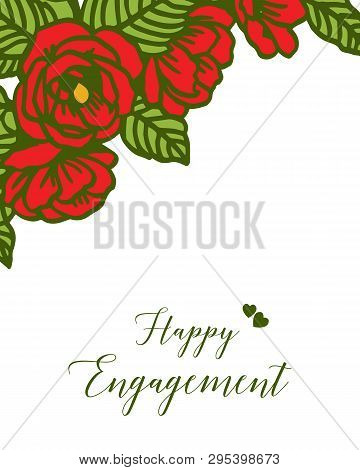Vector Illustration Various Greeting Card Of Happy Engagement With Wreath Frame