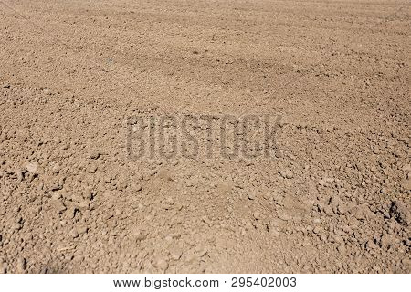 Soil Texture Plowed Field Before Sowing In Farm