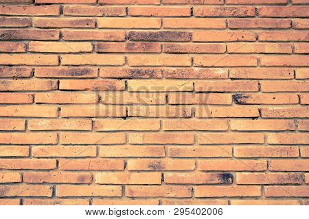 Old Red Brick Wall Texture Background In Vitage Tone