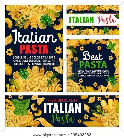 Pasta Or Italian Macaroni With Green Herbs Vector Design. Spaghetti, Farfalle And Penne, Fusilli, Fe
