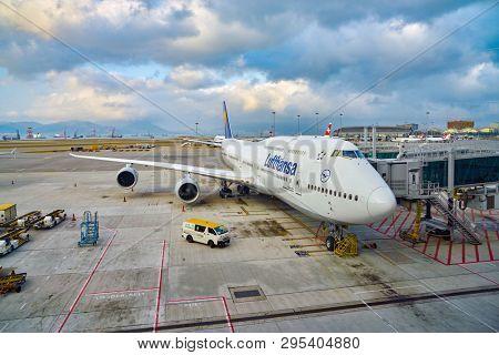 HONG KONG, CHINA - CIRCA FEBRUARY, 2019: Lufthansa Boeing 747-8 on tarmac at Hong Kong International Airport.