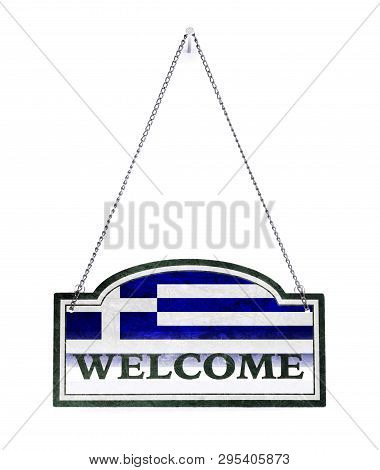 Greece Welcomes You! Old Metal Sign Isolated On White