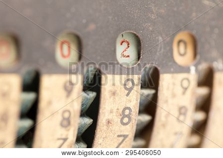 Vintage Manual Adding Machine Isolated On White, Selective Focus - 2