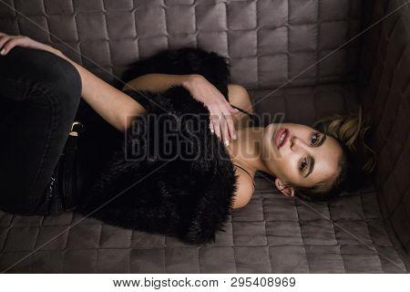 Young Beautiful Woman Studio Shoot Close Up