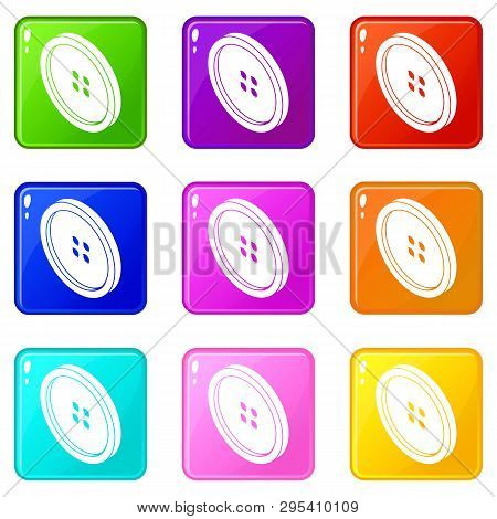 Small Shirt Button Icons Set 9 Color Collection Isolated On White For Any Design