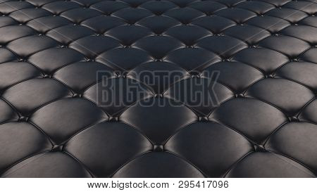 Quilted Fabric Surface. Black Leather And Black Leather. Option 1