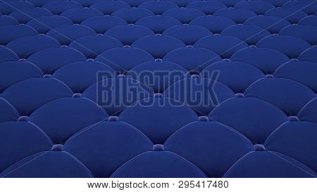 Quilted Fabric Surface. Festive Blue Corduroy. Option 1
