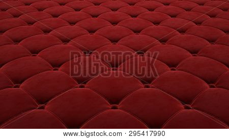 Quilted Fabric Surface. Festive Red Corduroy. Option 1