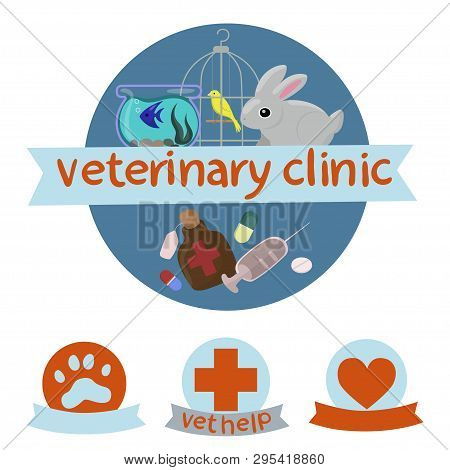 Veterinary Clinic Logo With The Image Of Canary, Rabbit And Fish .