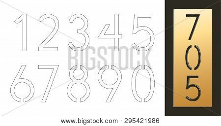 10 Number Templates. Cutout Silhouettes With Typographic Number Patterns. Design Is Suitable For Cre