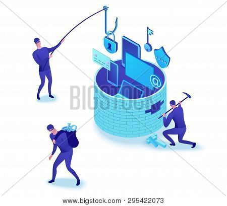 Firewall Attack, Phishing Scam, Data Theft, Hackers Breaking Wall To Steal Data, Information Protect