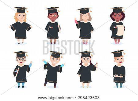 Graduate Kids. Kindergarten Preschool Graduating Children In Graduation Cap With Diploma Vector Cart