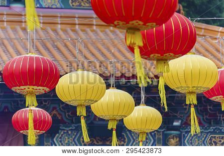 Chinese Lantern In Temple In Hong Kong City