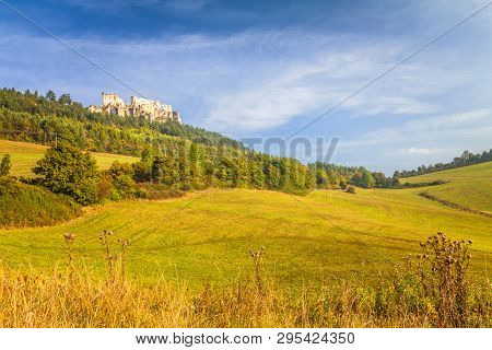 Sunny Landscape With A Ruins Of Medieval Castle Lietava, Slovakia, Europe.