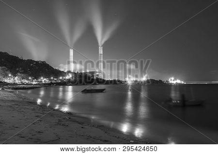 Power Plant In Hong Kong City At Night