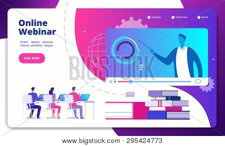 Webinar Concept. Online Webinars Seminar Speaker Student Web Consultation Webcast E Meeting Video Tr