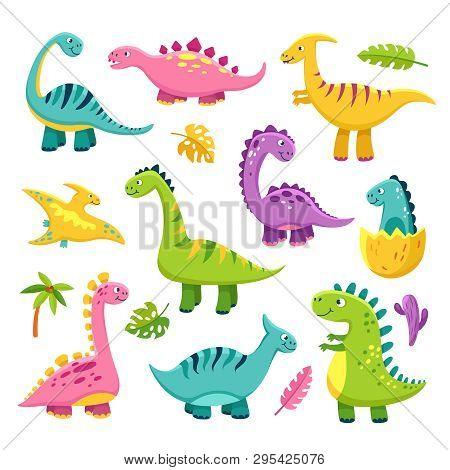 Cartoon Dinosaur. Cartoon Cute Baby Dino Triceratops Prehistoric Wild Animals Brontosaurus Isolated