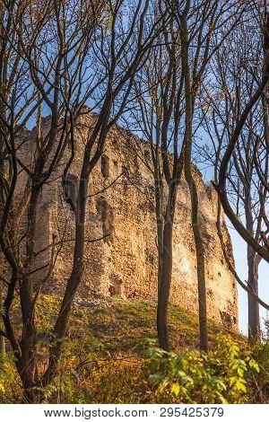 Landscape With Ruin Of Medieval Castle The Povazsky Hrad, Slovakia, Europe.