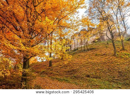 Autumn Landscape With Ruin Of Medieval Castle The Povazsky Hrad, Slovakia, Europe.