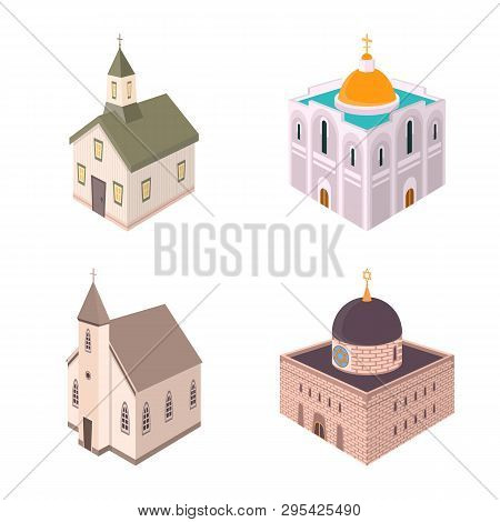 Vector Illustration Of Architecture And Building Icon. Collection Of Architecture And Clergy Stock V
