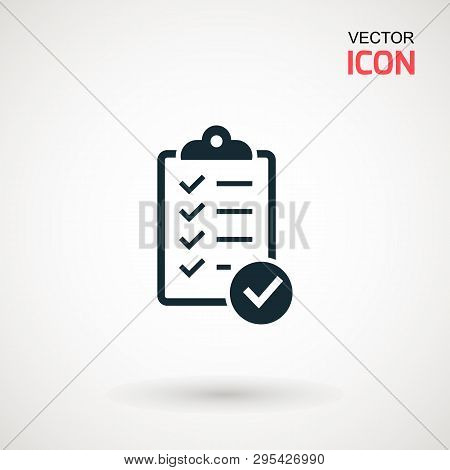Checklist Icon. Declarations Linear Icon. Flat Illustration Of Clipboard With Checklist.