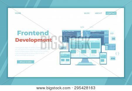 Frontend Development, Creating A Site Layout, Template. Website Ui Ux Interface On A Monitor Screen,