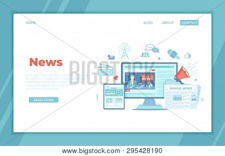 News Update, Online News. Breaking News Website With Broadcaster On The Monitor And Tablet Screen, N