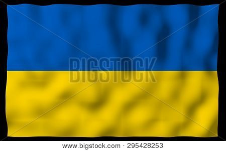 The flag of Ukraine on a dark background. National flag and state ensign. Blue and yellow bicolour. 3D illustration waving flag poster