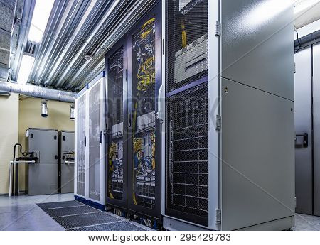 Room With Server Rack Of Hardware, Cloud Storage In Big Data Center