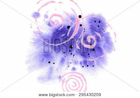 Watercolor Background For Card, Poster, Print. Abstract Violet Spot With Splashes And Spirals Isolat