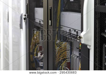Close Up Server Rack Inside With Depth Of Field And Floating Focus