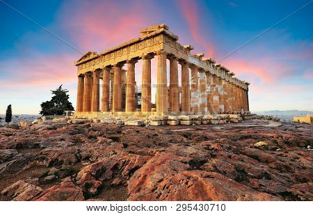 Parthenon On Acropolis, Athens In A Greece. Nobody