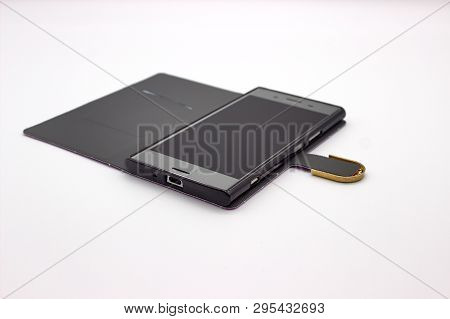 Smartphone In Case. The Isolated Image On White Background.