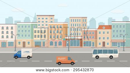 City Life Illustration With House Facades, Road And Other Urban Details. 3d Panoramic View. Vector I