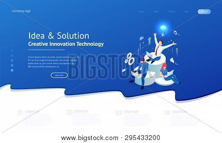 Isometric Creative Idea And Innovation Concept. New Ideas With Innovative Technology And Creativity.