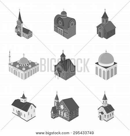 Vector Illustration Of Landmark And Clergy Logo. Collection Of Landmark And Religion Stock Symbol Fo