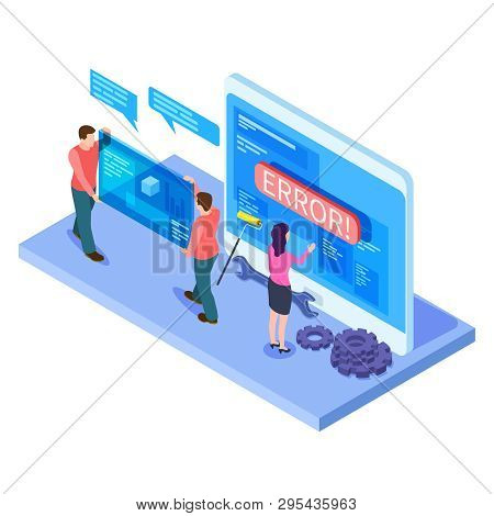 People And App Interfaces Isometric Concept. Developers Work With Mobile Computer Ui. Illustration O