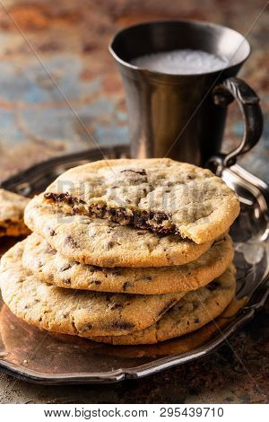 Chocolate Chip Cookies On Old Rusty Blue Table. American Cuisine. Copy Space.