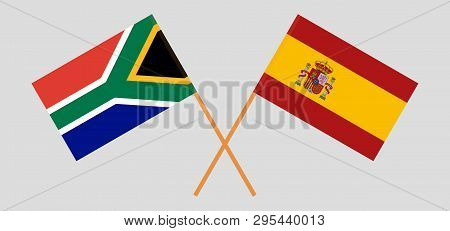 Rsa And Spain. The South African And Spanish Flags. Official Colors. Correct Proportion. Vector Illu