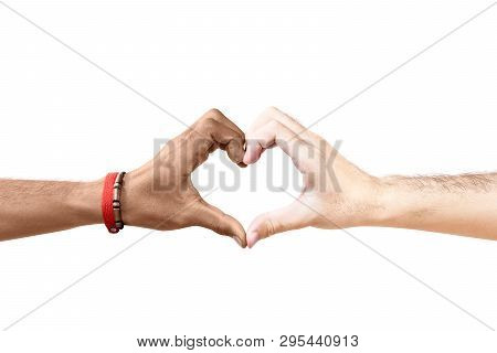Couple Of Gay Making A Heart Sign By Hand Isolated Over White Background