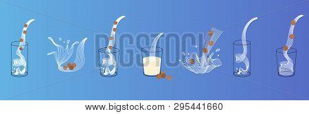 Vector Glass Of Hazelnut Milk With Nuts. Vegan Alternative Organic Filbert Milk Splash Pour In Glass