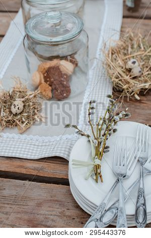 Decorative Easter Eggs On The Served Festive Table. Farm. Rustic Style.