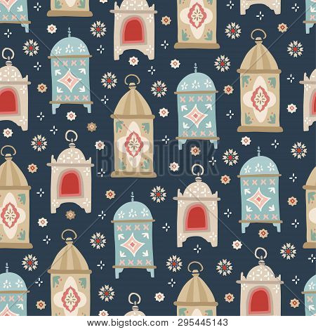 Hand Drawn Decorative Arab Lanterns And Stars . Beautiful Estive Seamless Pattern. Greeting Card, In