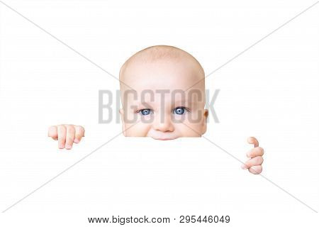 Adorable Cute Baby Boy Holding In Hand And Biting Something, Isolated On White Background.infant Bab