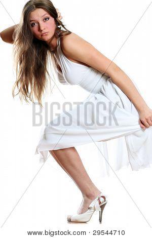 beautiful full body fashion woman isolated on white