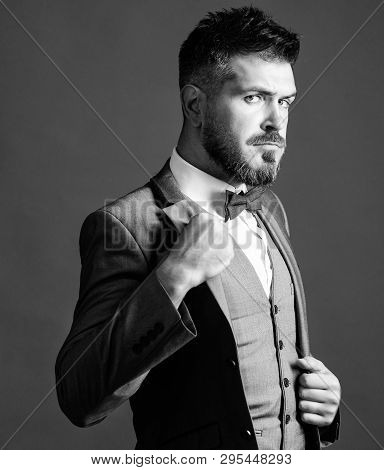 Classic Style Aesthetic. Perfect Suit Fit Him. Menswear Shop. Man Adjust Suit With Bow Tie. Well Gro