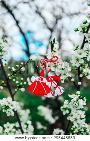 Bulgarian Traditional Spring Decor Martenitsa On The Blossom Tree Background. Baba Marta Holiday.